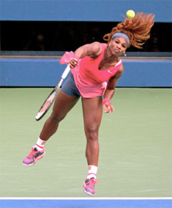 Serena Williams serving at the 2013 US Open