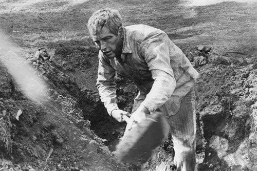 Paul Newman as Luke Jackson shoveling dirt in the movie Cool Hand Luke