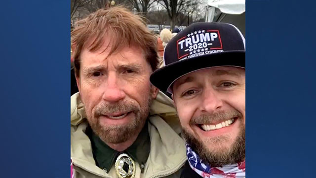Chuck Norris lookalike and Trump supporter Matthew Bledsoe at the US Capitol, 6 January 2021