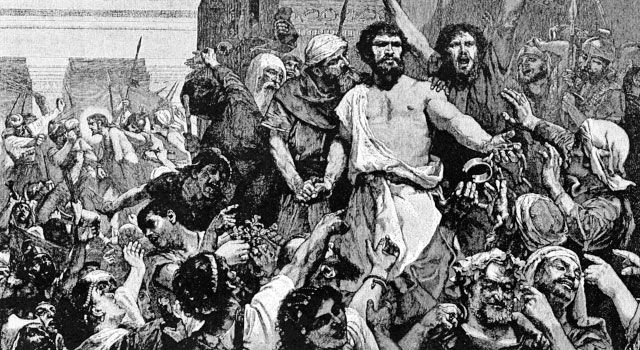 Pen and ink drawing showing Barabbas welcomed by a jubilant crowd as Jesus is led away by Roman soldiers in the background