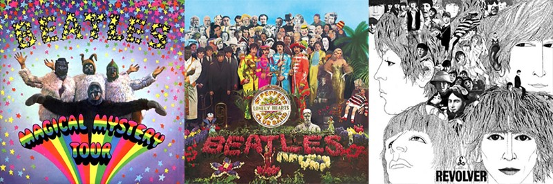 """Front covers of The Beatles' albums """"Magical Mystery Tour"""", """"Sgt. Pepper's Lonely Hearts Club Band"""", and """"Revolver"""""""