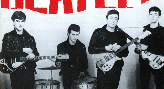 Album cover showing The Beatles (with Pete Best) in leather jackets posing with their instruments