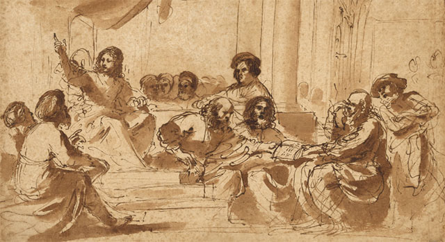 Jesus seated in the Temple portico, speaking with hand raised, surrounded by men listening and talking