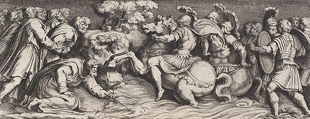 Etching depicting Moses dipping his staff in the Red Sea as the water rises around soldiers on horseback