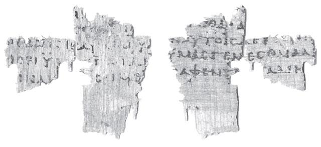 Scraps of ancient manuscript with Greek text