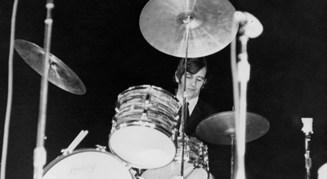 Drummer Ringo Starr performing at the Gator Bowl in Jacksonville, Florida, in 1964