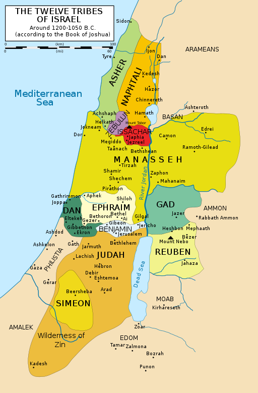 A map of the region at the eastern end of the Mediterranean Sea showing the traditional territories of the tribes of Israel