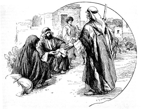 Engraving of a scene in the Ancient Near East: An elderly man speaks to a younger man sitting in a town square, flanked by a robed woman and a boy holding a donkey.