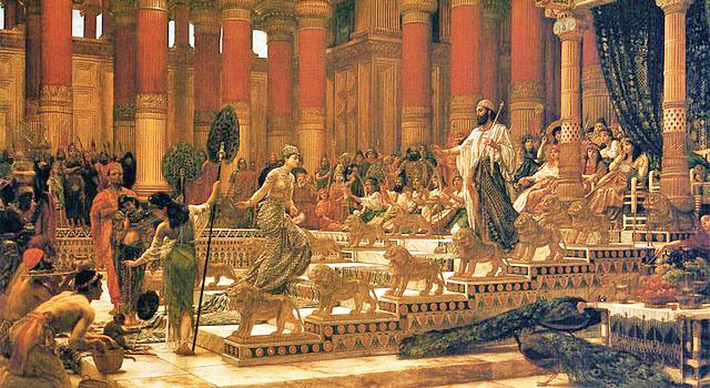 King Solomon receives the Queen of Sheba in an elaborate palace featuring golden lions, turbaned courtiers, doric and ionic columns, and strolling peacocks