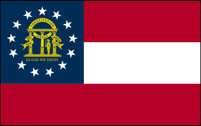 Rectangular flag featuring three horizontal stripes of equal size, red on top and bottom and white in the center, and a square blue field in the upper left third containing a circle of 13 white stars with the Georgia coat of arms in the center
