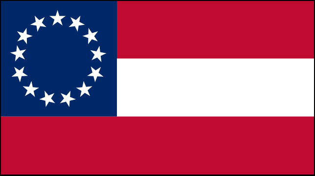 Rectangular flag featuring three horizontal stripes of equal size, red on top and bottom and white in the center, and a square blue field in the upper left third containing a circle of 13 white stars