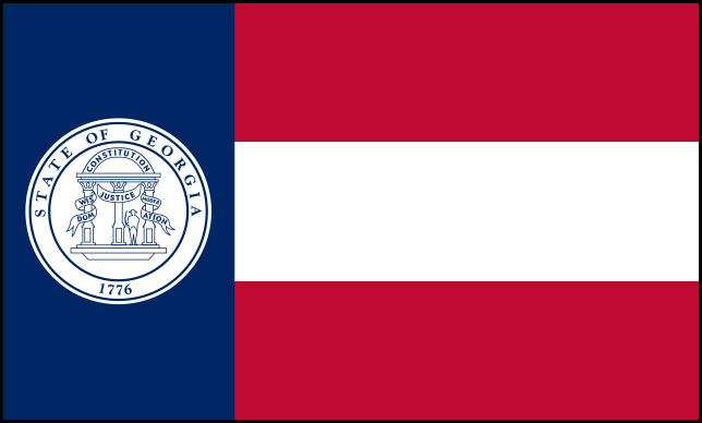 Rectangular flag consisting of three horizontal stripes, red on top and bottom and white in the center, in the right two-thirds of the rectangle, and a blue field with the Georgia state seal on it in the left third