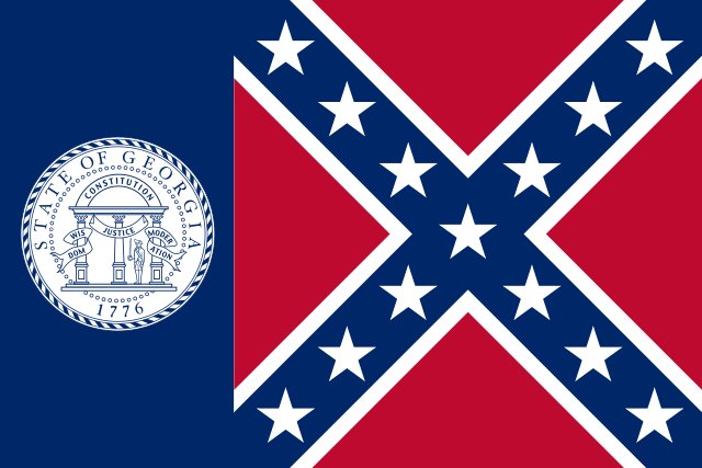 A rectangular flag, the right two thirds consisting of a pair of crossing diagonal blue bars, against a square red field, each bar outlined with thin white bands and with seven white stars along their centers, the two bands sharing a star at their intersection; and the left third consisting of a blue field with the state seal of Georgia on it.