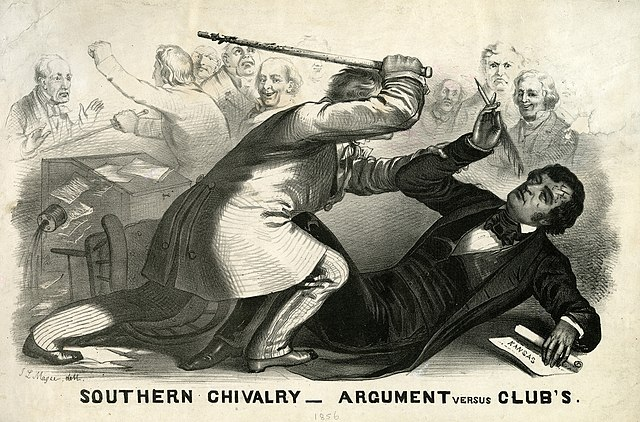 Engraving showing a man in a white suit attacking a man in a black suit with a cane, while a few men in the background look on, some with amusement, and others ignore the scene while arguing among themselves. The caption reads: Southern chivalry-argument versus clubs.